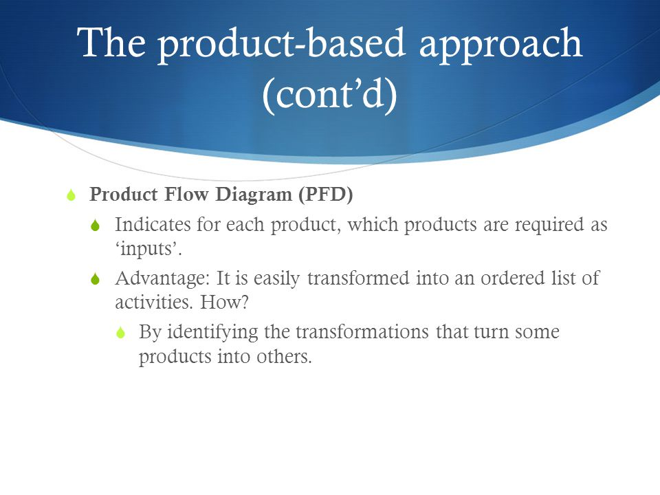 The product-based approach (cont'd)  Product Flow Diagram (PFD)  Indicates for each product, which products are required as 'inputs'.