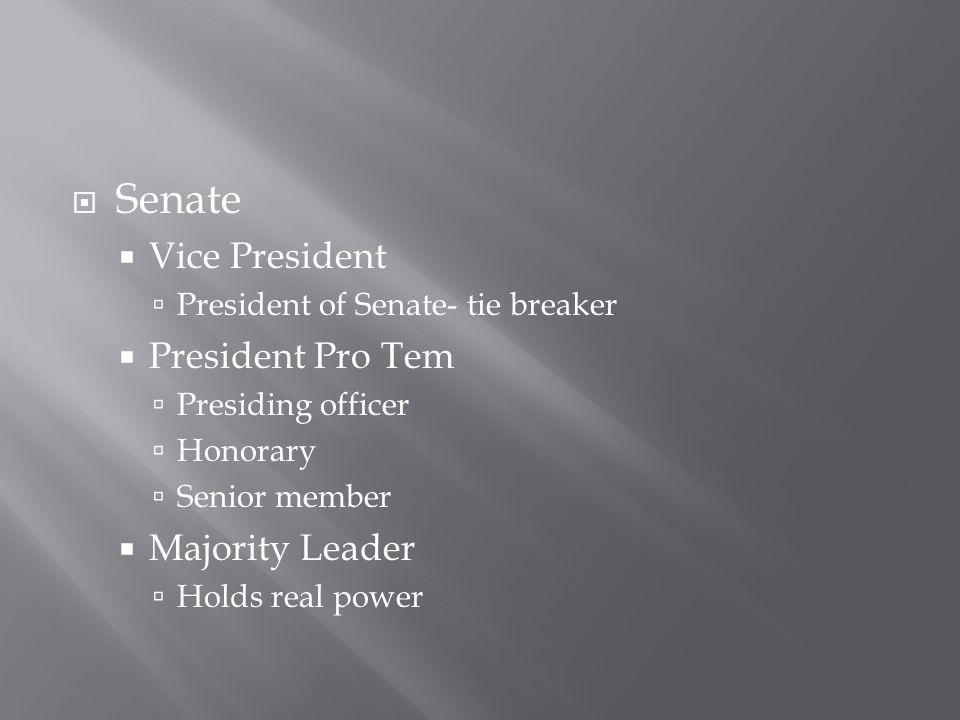  Senate  Vice President  President of Senate- tie breaker  President Pro Tem  Presiding officer  Honorary  Senior member  Majority Leader  Holds real power