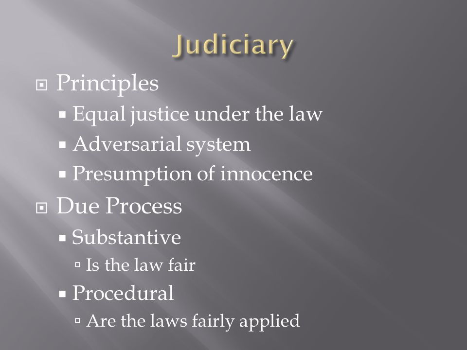  Principles  Equal justice under the law  Adversarial system  Presumption of innocence  Due Process  Substantive  Is the law fair  Procedural  Are the laws fairly applied