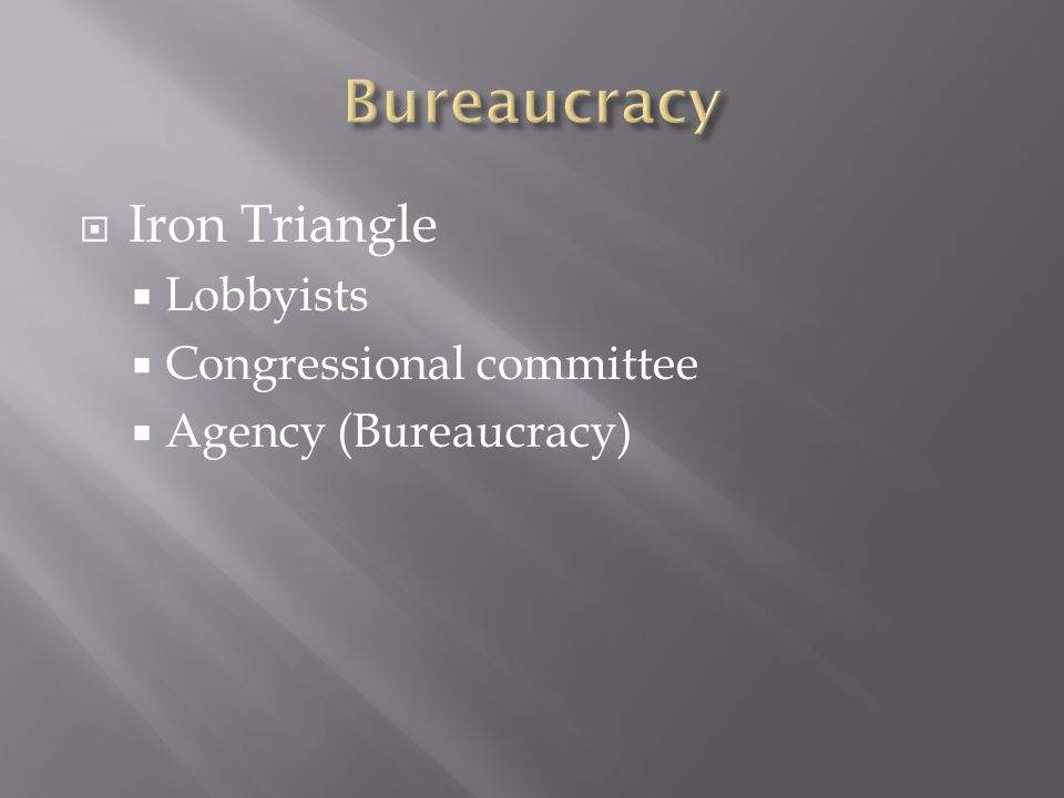  Iron Triangle  Lobbyists  Congressional committee  Agency (Bureaucracy)