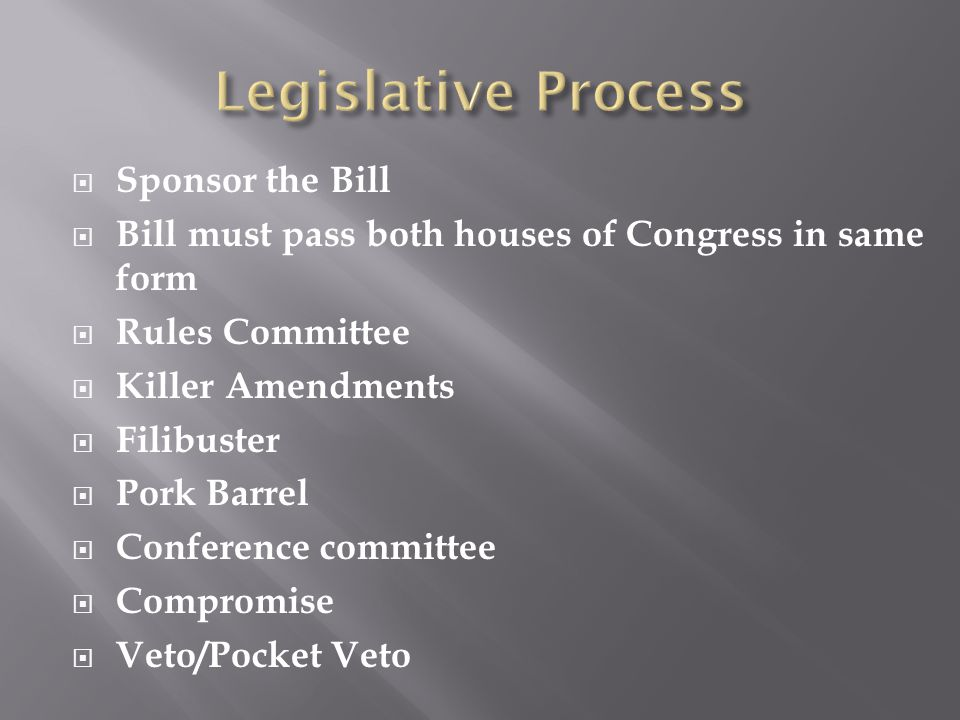  Sponsor the Bill  Bill must pass both houses of Congress in same form  Rules Committee  Killer Amendments  Filibuster  Pork Barrel  Conference committee  Compromise  Veto/Pocket Veto