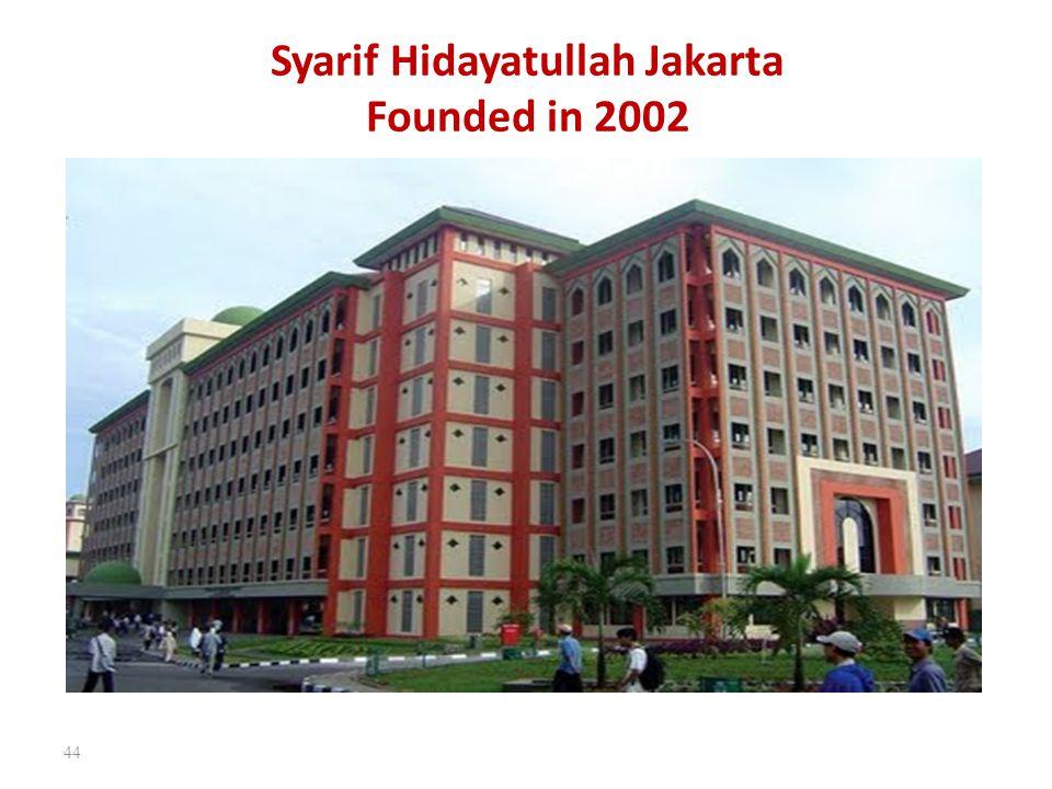 Syarif Hidayatullah Jakarta Founded in 2002 44