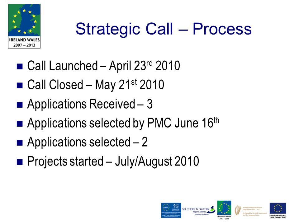Strategic Call – Process Call Launched – April 23 rd 2010 Call Closed – May 21 st 2010 Applications Received – 3 Applications selected by PMC June 16 th Applications selected – 2 Projects started – July/August 2010