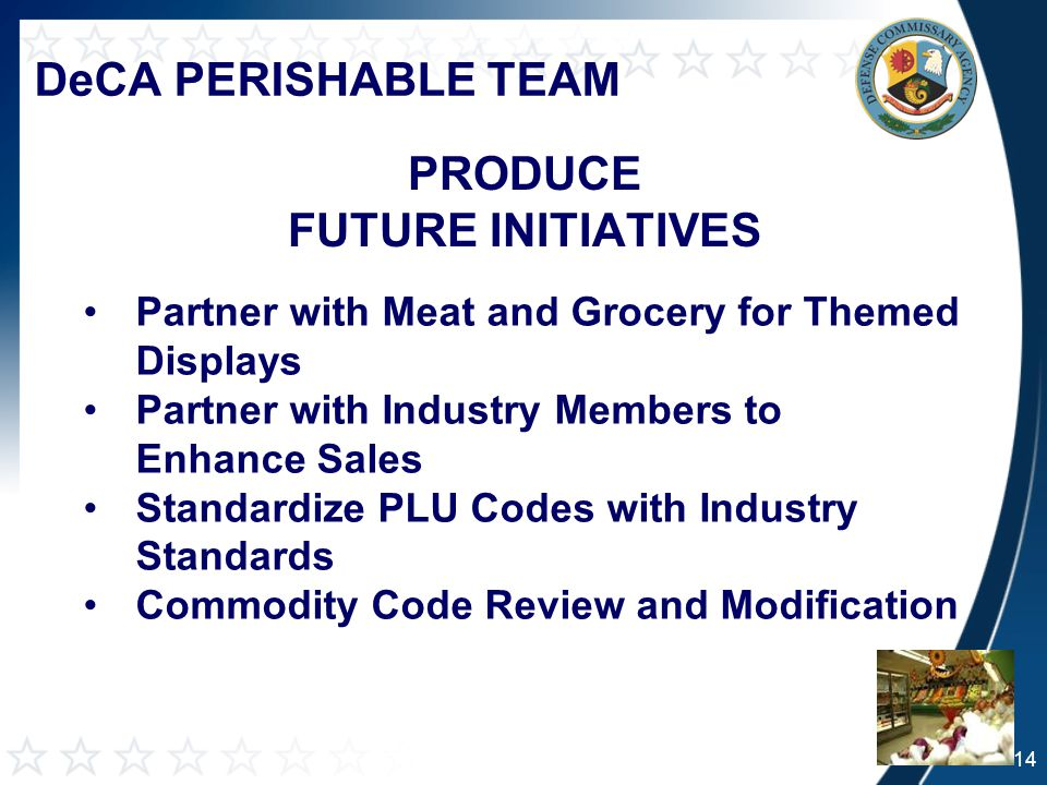 DeCA PERISHABLE TEAM PRODUCE FUTURE INITIATIVES Partner with Meat and Grocery for Themed Displays Partner with Industry Members to Enhance Sales Standardize PLU Codes with Industry Standards Commodity Code Review and Modification 14