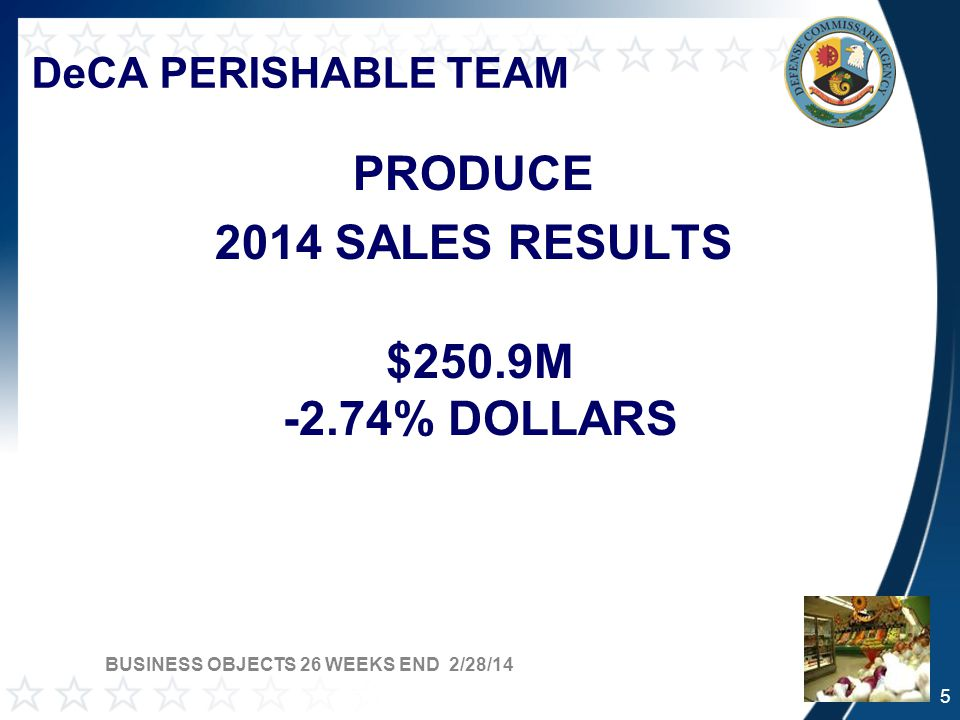 DeCA PERISHABLE TEAM PRODUCE 2014 SALES RESULTS $250.9M -2.74% DOLLARS BUSINESS OBJECTS 26 WEEKS END 2/28/14 5