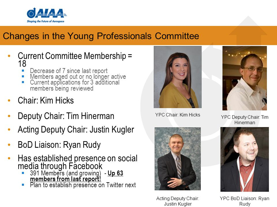 Changes in the Young Professionals Committee Current Committee Membership = 18  Decrease of 7 since last report  Members aged out or no longer activ