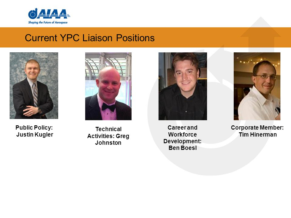 Current YPC Liaison Positions Corporate Member: Tim Hinerman Public Policy: Justin Kugler Career and Workforce Development: Ben Boesl Technical Activities: Greg Johnston