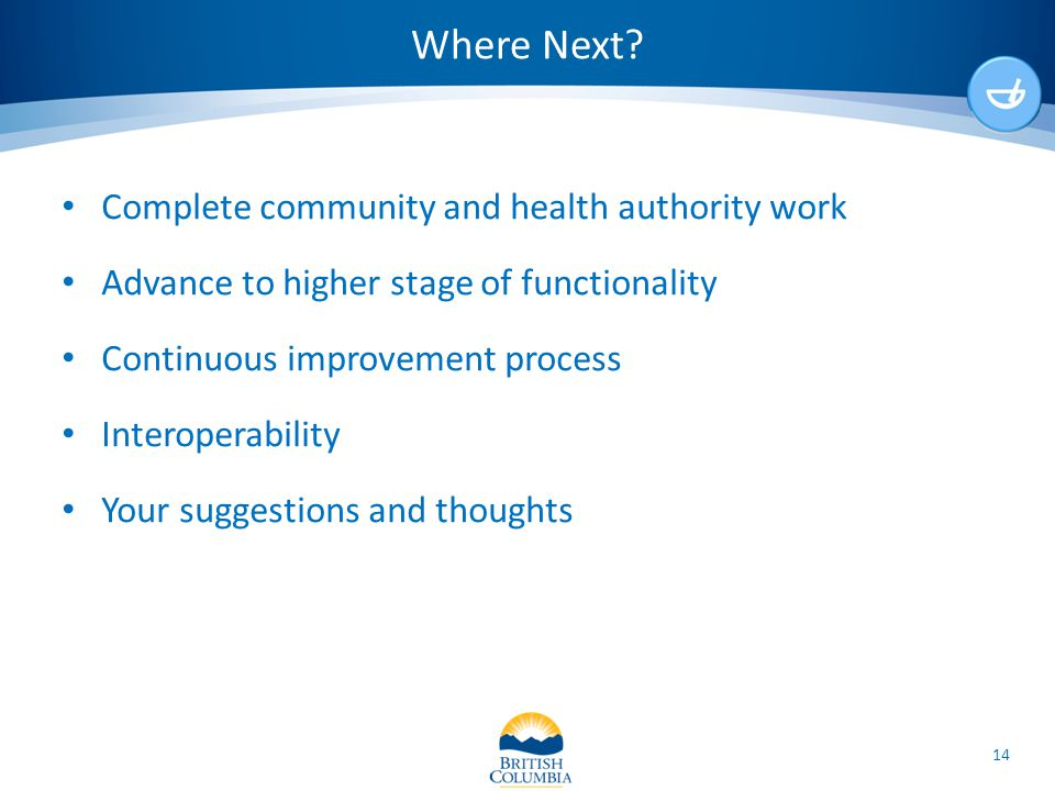 Where Next? Complete community and health authority work Advance to higher stage of functionality Continuous improvement process Interoperability Your
