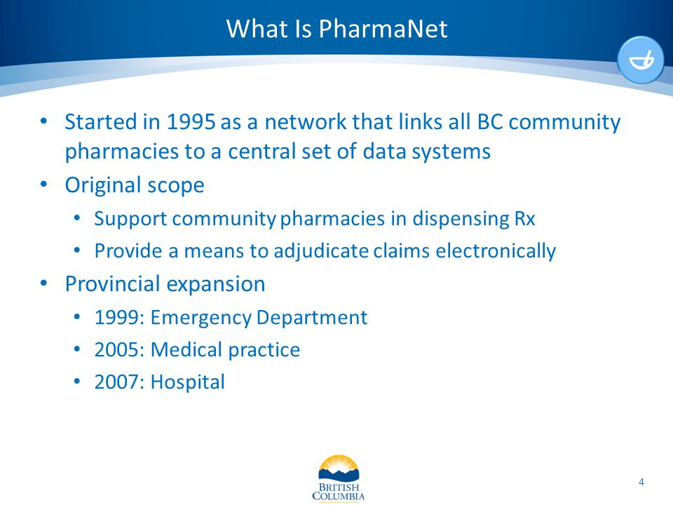 What Is PharmaNet Started in 1995 as a network that links all BC community pharmacies to a central set of data systems Original scope Support communit