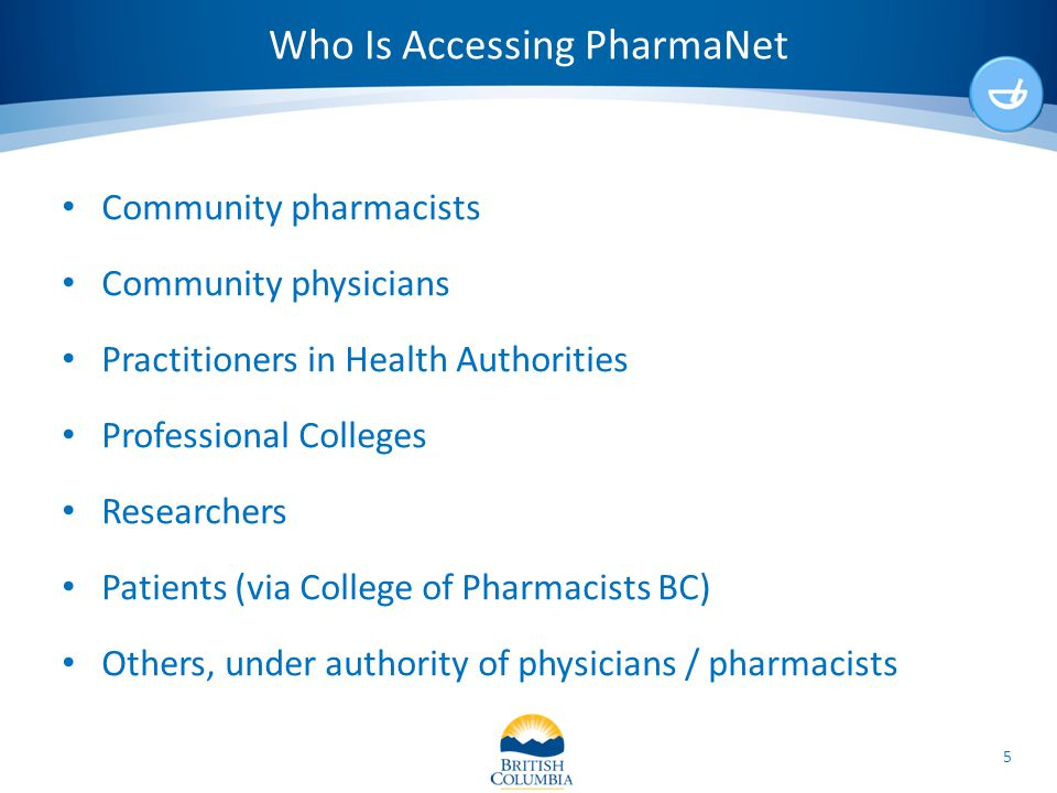 Who Is Accessing PharmaNet Community pharmacists Community physicians Practitioners in Health Authorities Professional Colleges Researchers Patients (