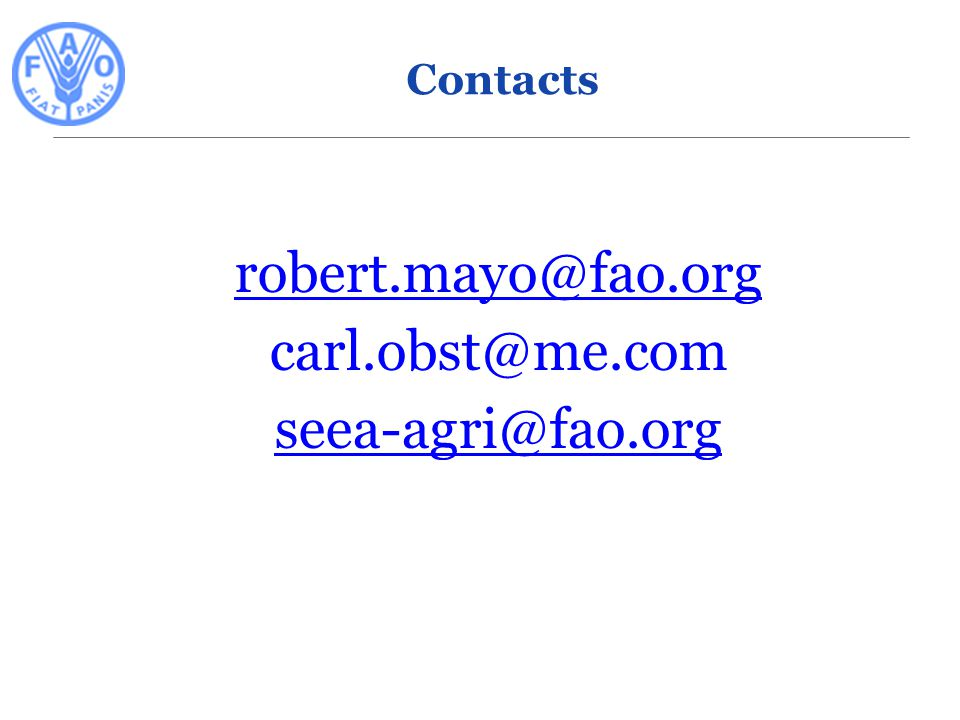 robert.mayo@fao.org carl.obst@me.com seea-agri@fao.org 9 Contacts