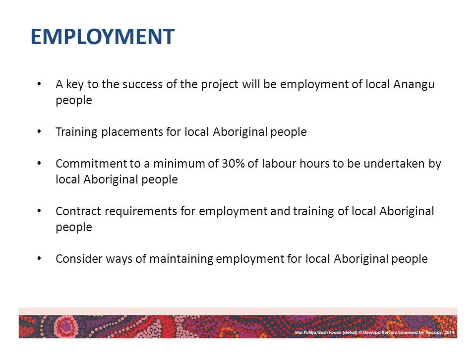 A key to the success of the project will be employment of local Anangu people Training placements for local Aboriginal people Commitment to a minimum of 30% of labour hours to be undertaken by local Aboriginal people Contract requirements for employment and training of local Aboriginal people Consider ways of maintaining employment for local Aboriginal people