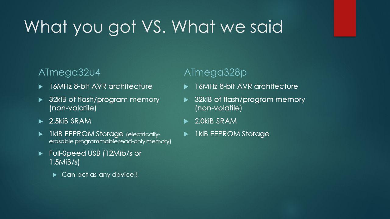 What you got VS. What we said ATmega32u4  16MHz 8-bit AVR architecture  32kiB of flash/program memory (non-volatile)  2.5kiB SRAM  1kiB EEPROM Sto