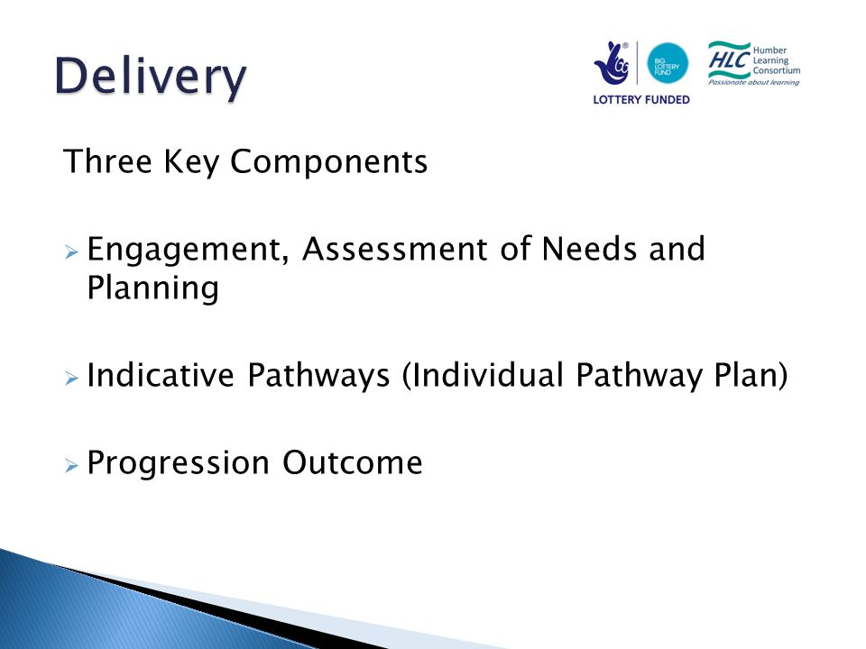 Three Key Components  Engagement, Assessment of Needs and Planning  Indicative Pathways (Individual Pathway Plan)  Progression Outcome