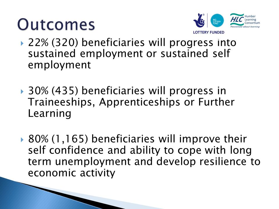  22% (320) beneficiaries will progress into sustained employment or sustained self employment  30% (435) beneficiaries will progress in Traineeships, Apprenticeships or Further Learning  80% (1,165) beneficiaries will improve their self confidence and ability to cope with long term unemployment and develop resilience to economic activity