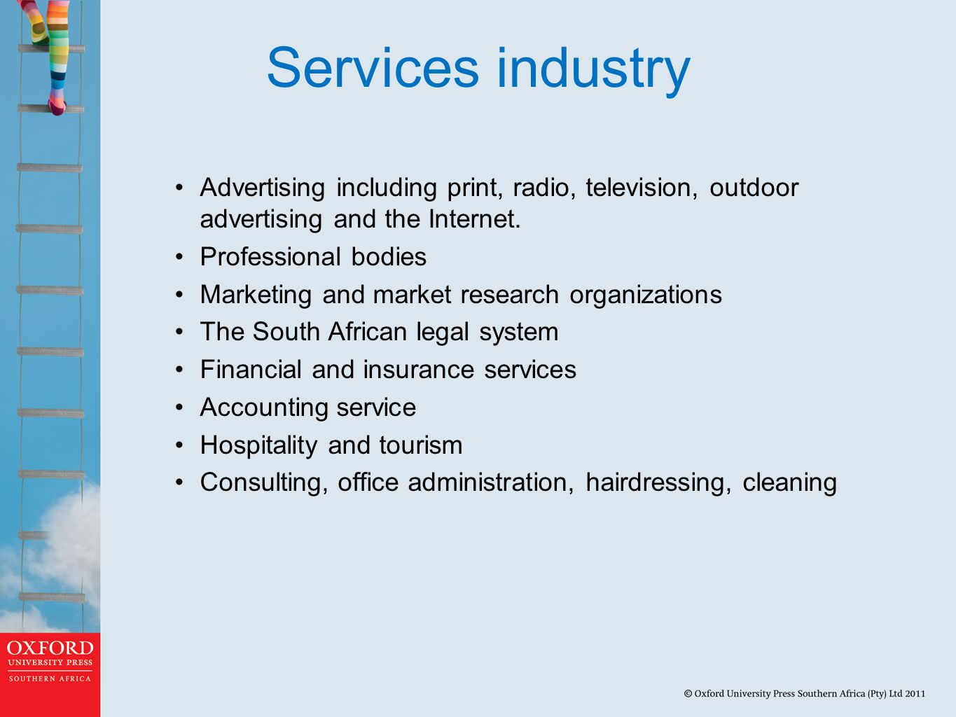 Services industry Advertising including print, radio, television, outdoor advertising and the Internet.