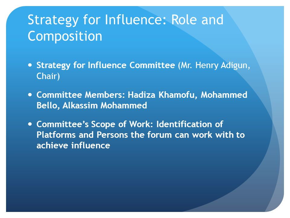 Strategy for Influence: Role and Composition Strategy for Influence Committee (Mr.