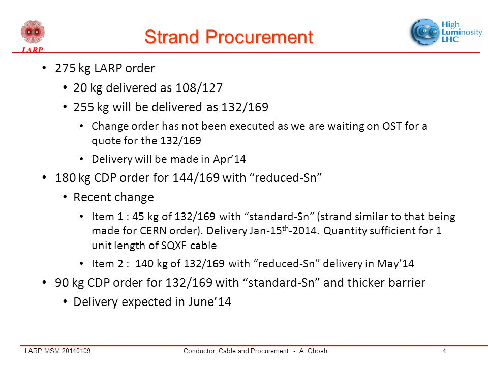 LARP MSM 20140109Conductor, Cable and Procurement - A. Ghosh4 Strand Procurement 275 kg LARP order 20 kg delivered as 108/127 255 kg will be delivered