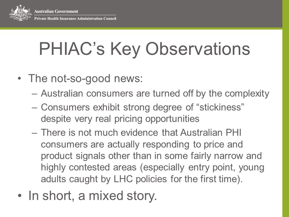 PHIAC's Key Observations The not-so-good news: –Australian consumers are turned off by the complexity –Consumers exhibit strong degree of stickiness despite very real pricing opportunities –There is not much evidence that Australian PHI consumers are actually responding to price and product signals other than in some fairly narrow and highly contested areas (especially entry point, young adults caught by LHC policies for the first time).