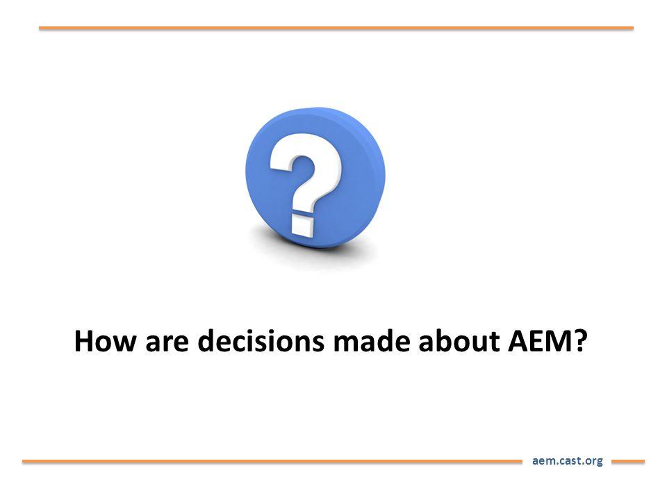 aem.cast.org How are decisions made about AEM?
