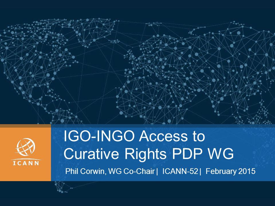 IGO-INGO Access to Curative Rights PDP WG Phil Corwin, WG Co-Chair | ICANN-52 | February 2015