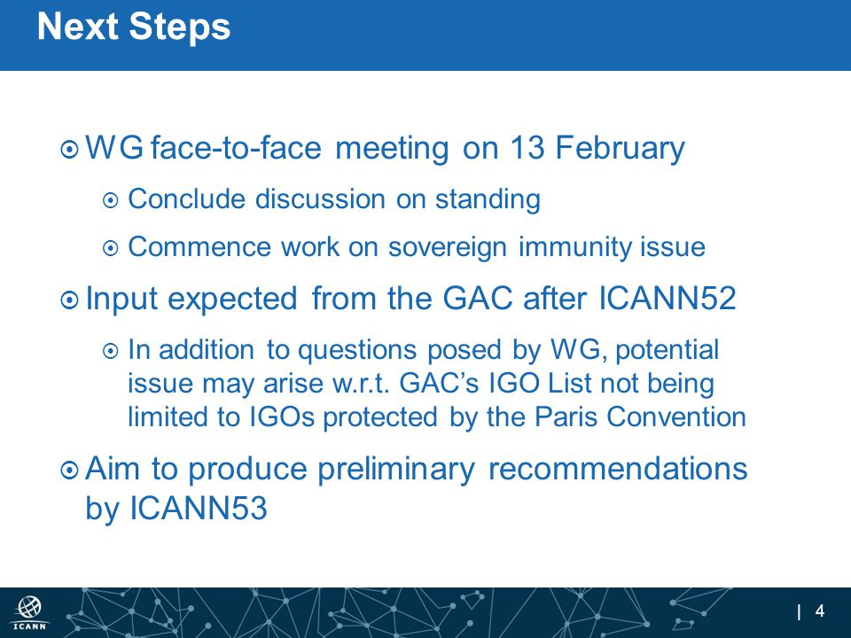 | 4 Next Steps  WG face-to-face meeting on 13 February  Conclude discussion on standing  Commence work on sovereign immunity issue  Input expected