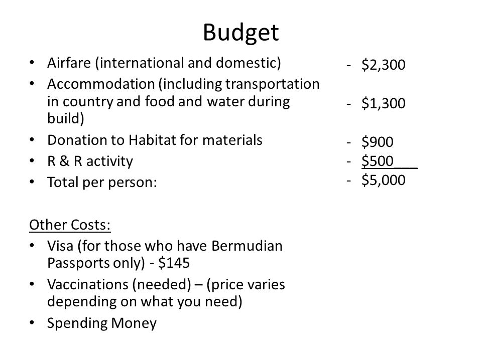 Budget Airfare (international and domestic) Accommodation (including transportation in country and food and water during build) Donation to Habitat for materials R & R activity Total per person: Other Costs: Visa (for those who have Bermudian Passports only) - $145 Vaccinations (needed) – (price varies depending on what you need) Spending Money -$2,300 -$1,300 -$900 -$500___ -$5,000