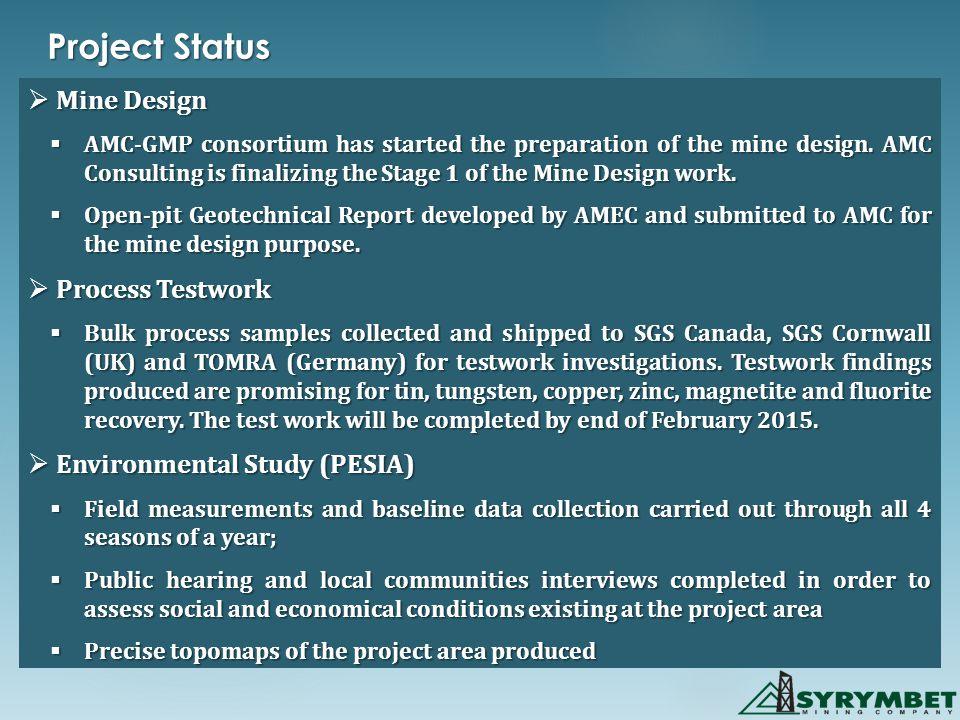 Project Status  Mine Design  AMC-GMP consortium has started the preparation of the mine design.
