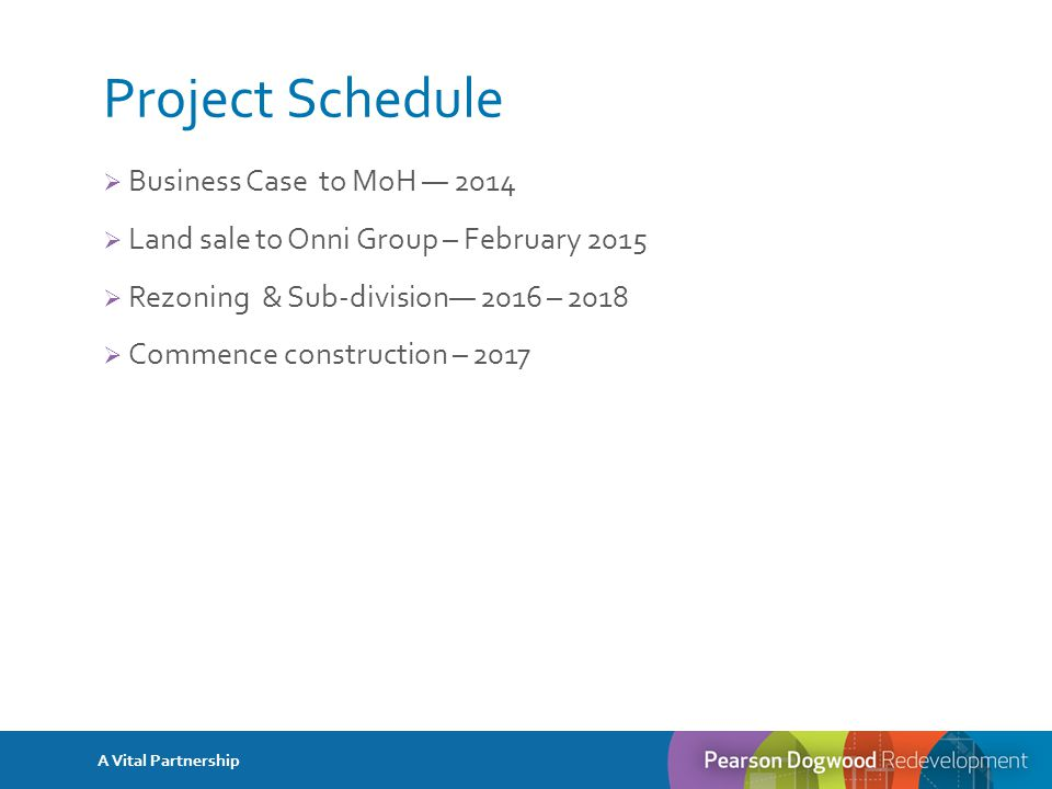 Project Schedule  Business Case to MoH — 2014  Land sale to Onni Group – February 2015  Rezoning & Sub-division— 2016 – 2018  Commence construction – 2017 A Vital Partnership