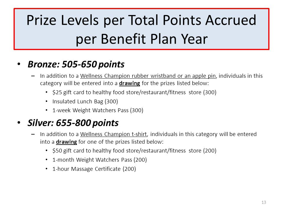 Prize Levels per Total Points Accrued per Benefit Plan Year Bronze: 505-650 points – In addition to a Wellness Champion rubber wristband or an apple p