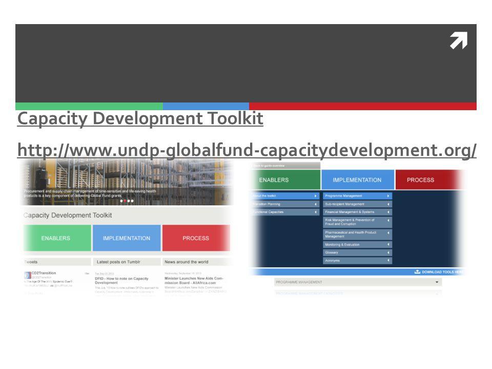  Capacity Development Toolkit http://www.undp-globalfund-capacitydevelopment.org/