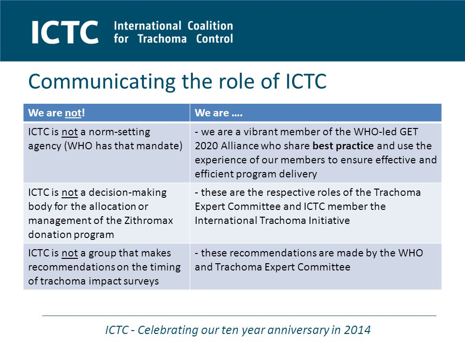 ICTC - Celebrating our ten year anniversary in 2014 We are not!We are ….