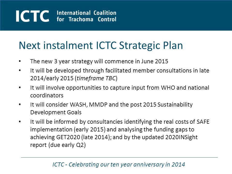 ICTC - Celebrating our ten year anniversary in 2014 Project overview Updated SAFE costing project Nigel Pedlingham The Fred Hollows Foundation