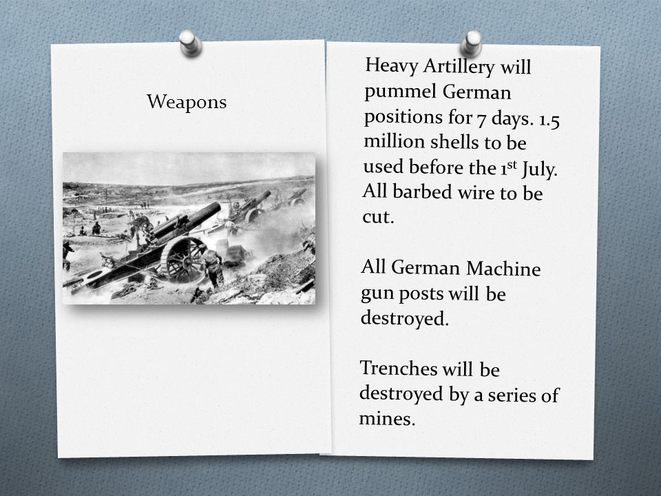 Weapons Heavy Artillery will pummel German positions for 7 days.
