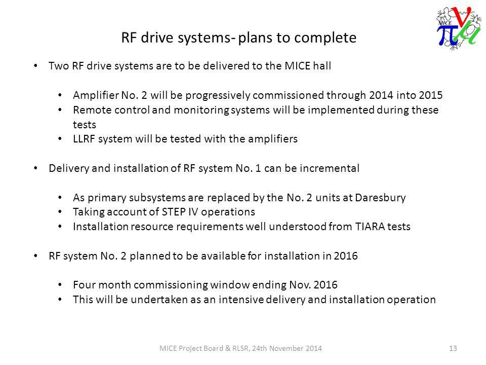 RF drive systems- plans to complete MICE Project Board & RLSR, 24th November 201413 Two RF drive systems are to be delivered to the MICE hall Amplifier No.