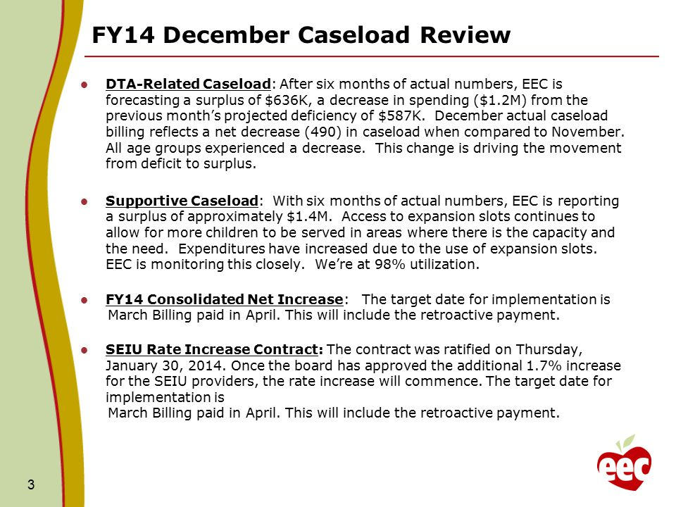 FY14 December Caseload Review DTA-Related Caseload: After six months of actual numbers, EEC is forecasting a surplus of $636K, a decrease in spending ($1.2M) from the previous month's projected deficiency of $587K.
