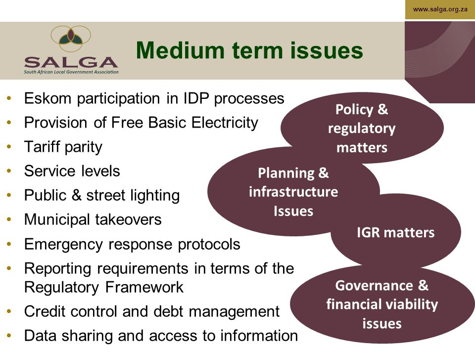 www.salga.org.za Medium term issues Eskom participation in IDP processes Provision of Free Basic Electricity Tariff parity Service levels Public & street lighting Municipal takeovers Emergency response protocols Reporting requirements in terms of the Regulatory Framework Credit control and debt management Data sharing and access to information Planning & infrastructure Issues Governance & financial viability issues IGR matters Policy & regulatory matters