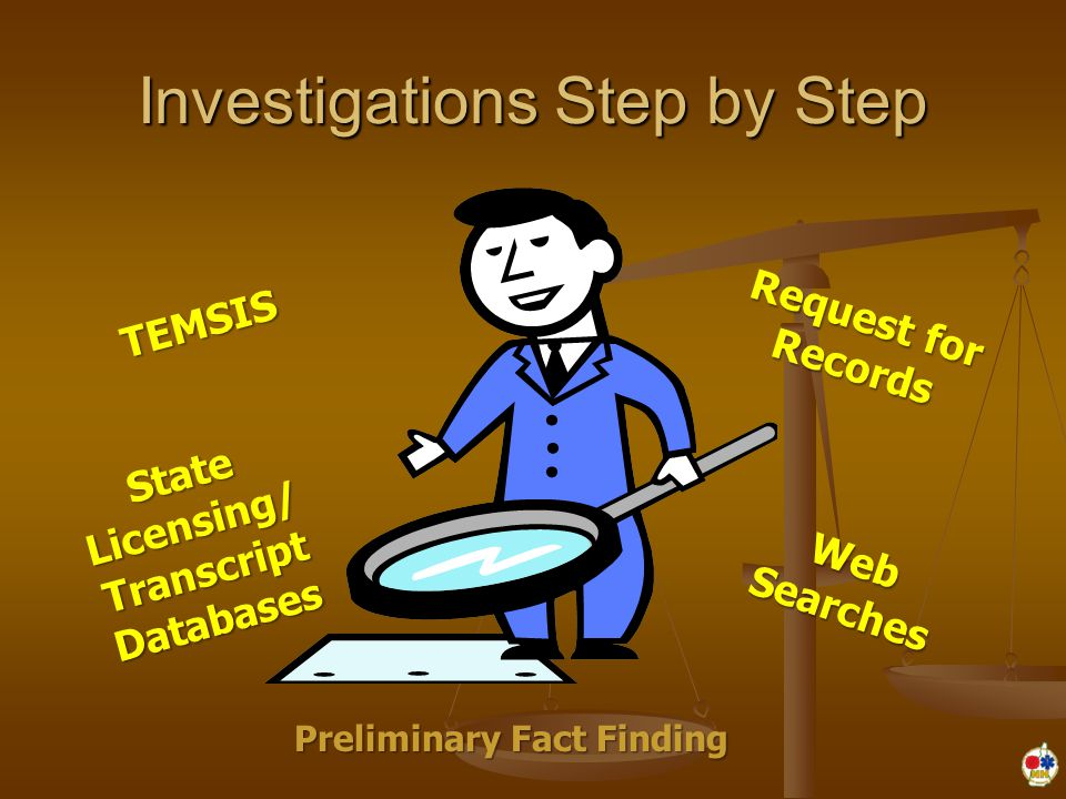 Investigations Step by Step Preliminary Fact Finding TEMSIS State Licensing/ Transcript Databases Web Searches Request for Records