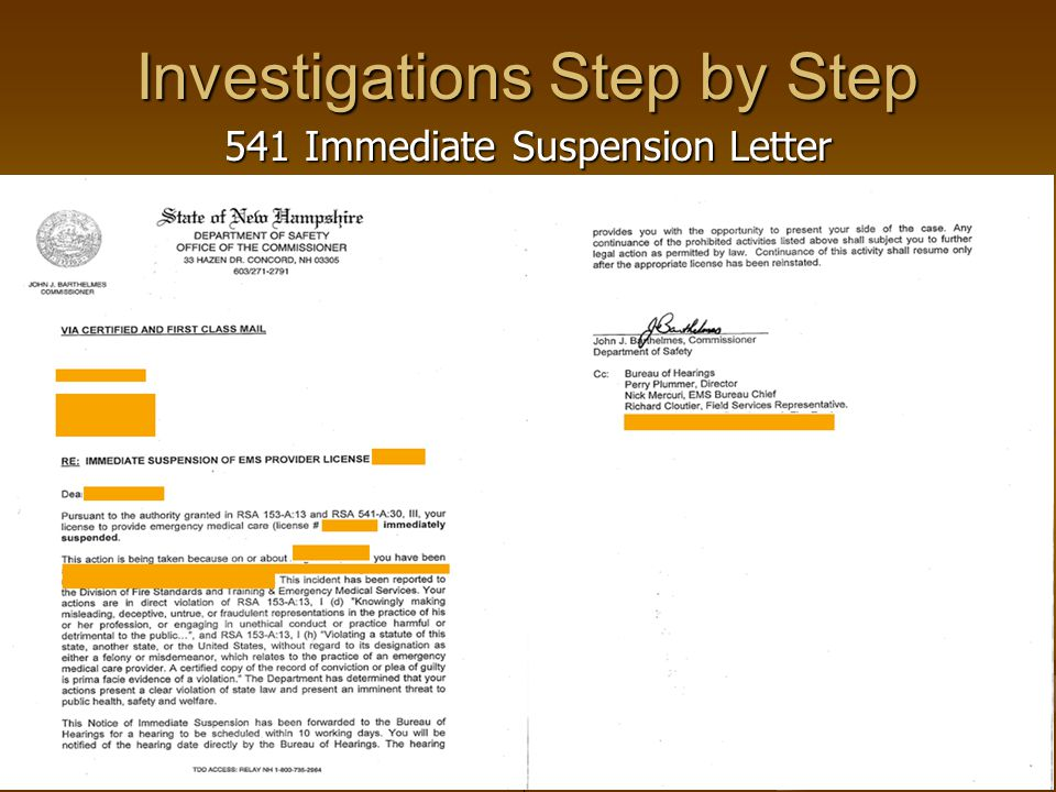 Investigations Step by Step 541 Immediate Suspension Letter
