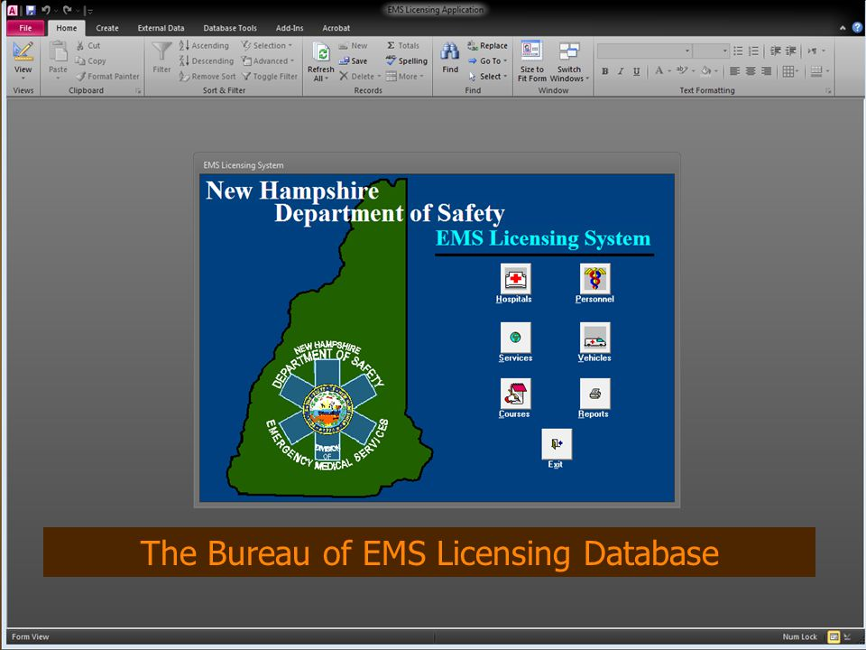 The Bureau of EMS Licensing Database