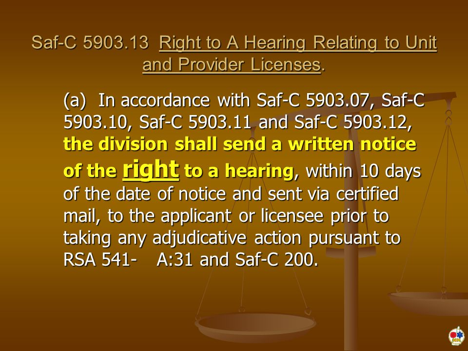 Saf-C 5903.13 Right to A Hearing Relating to Unit and Provider Licenses.