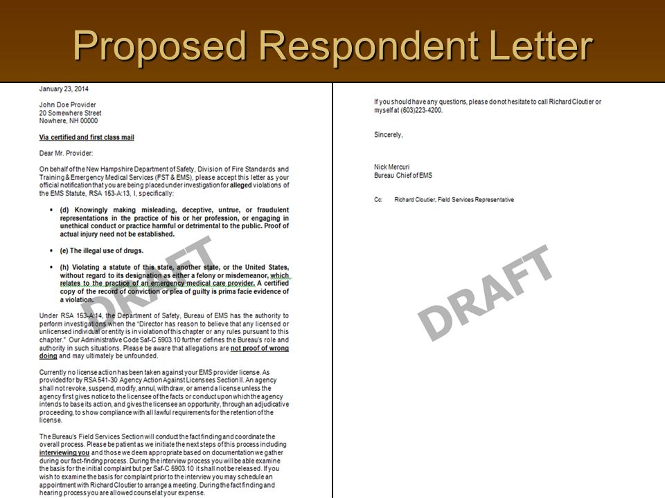 Proposed Respondent Letter