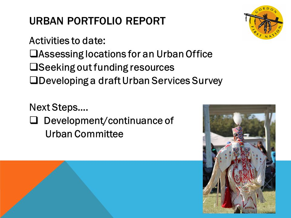 URBAN PORTFOLIO REPORT Activities to date:  Assessing locations for an Urban Office  Seeking out funding resources  Developing a draft Urban Services Survey Next Steps….