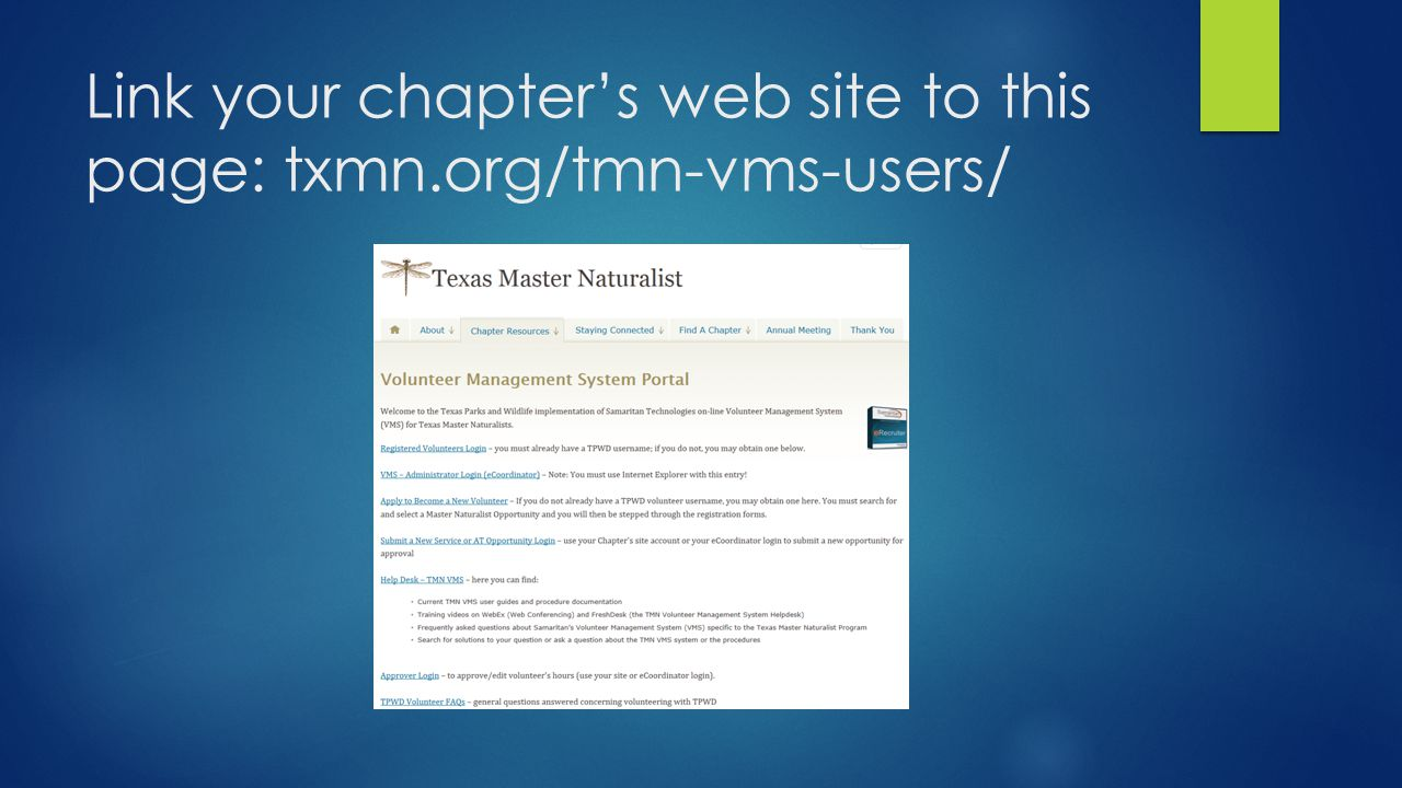 Link your chapter's web site to this page: txmn.org/tmn-vms-users/