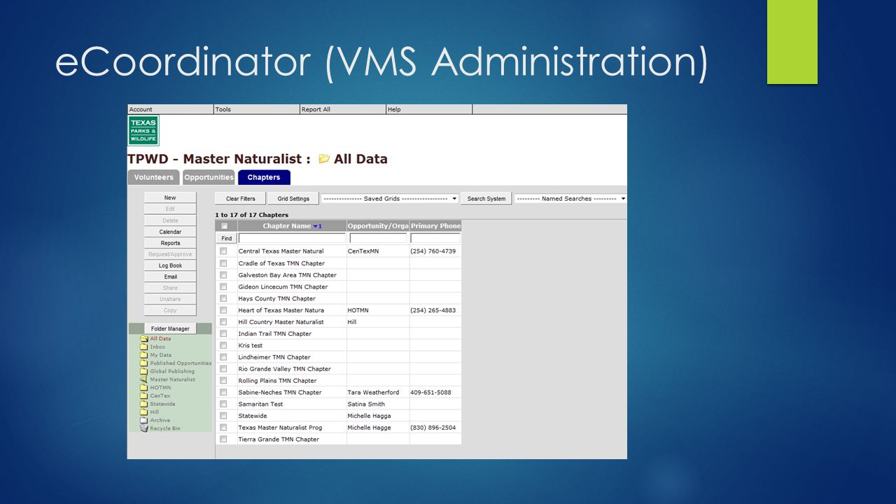 eCoordinator (VMS Administration)