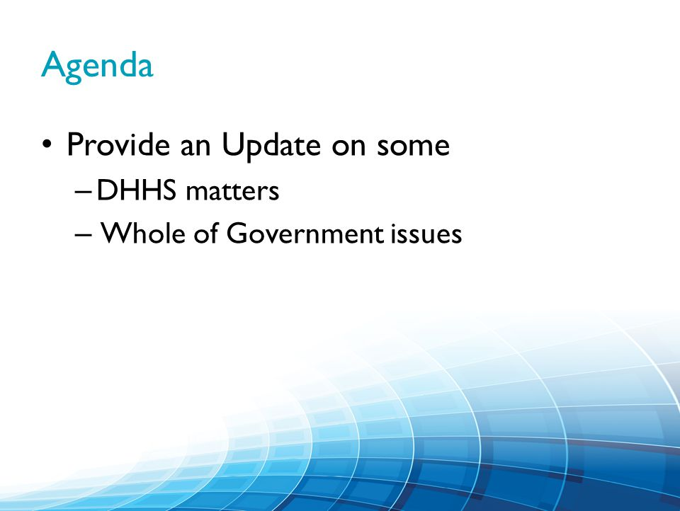 Agenda Provide an Update on some – DHHS matters – Whole of Government issues
