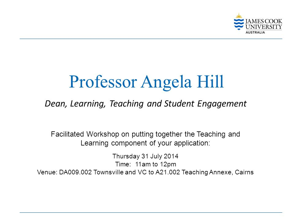Professor Angela Hill Dean, Learning, Teaching and Student Engagement Facilitated Workshop on putting together the Teaching and Learning component of