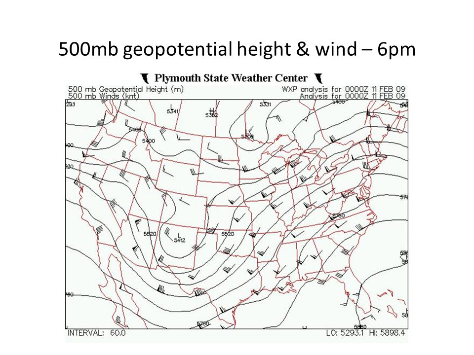 500mb geopotential height & wind – 6pm