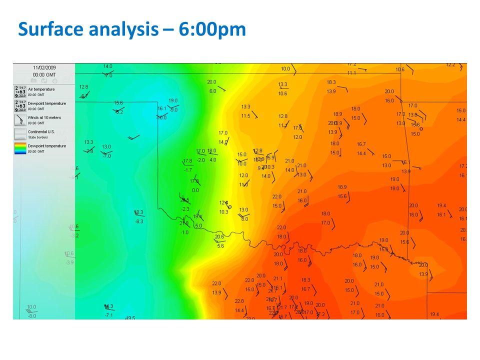 Surface analysis – 6:00pm