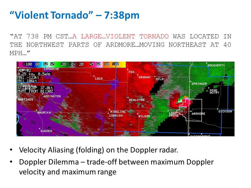 "Velocity Aliasing (folding) on the Doppler radar. Doppler Dilemma – trade-off between maximum Doppler velocity and maximum range ""AT 738 PM CST…A LARG"